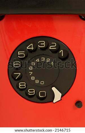 isolated red telephone - stock photo