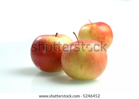 Isolated red wet apples, path included - stock photo