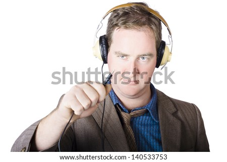 Isolated retro man about to plugin stereo headphones when tuning into a radio broadcast - stock photo