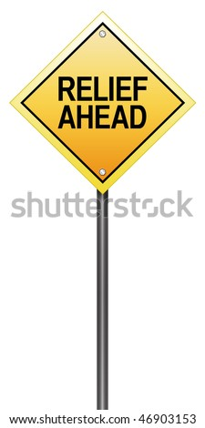 Isolated Road Sign with Relief Ahead - stock photo