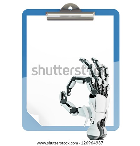 Isolated robotic arm showing Ok sign and paper pad holder on white background - stock photo