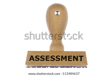 isolated rubber stamp marked with assessment - stock photo