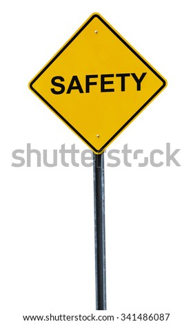 isolated safety warning sign - stock photo
