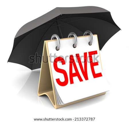 Isolated Save Consept with Umbrella. 3D Rendering - stock photo