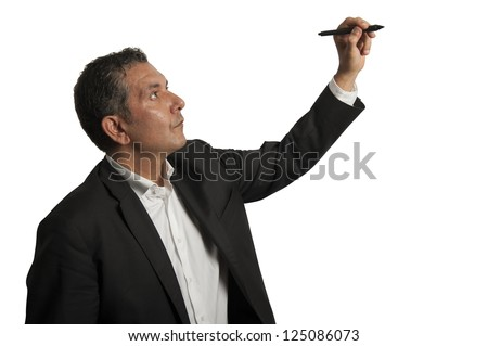 Isolated senior businessman drawing on wihteboard - stock photo