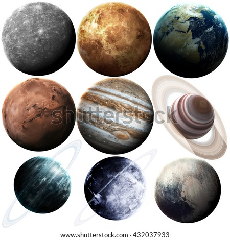 Isolated set of planets in the solar system. Elements of this image furnished by NASA - stock photo