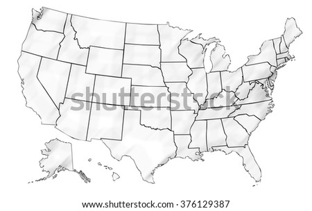 isolated shaded political USA map of united states of america with black outline of 50 country frontier contour - stock photo