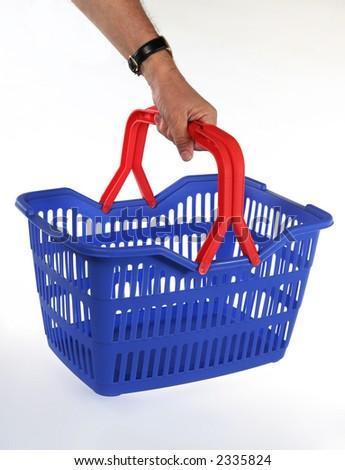 Isolated shopping basket. Hand hold Shop or market basket. - stock photo
