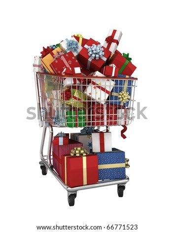 isolated shopping cart with lots of gifts - stock photo