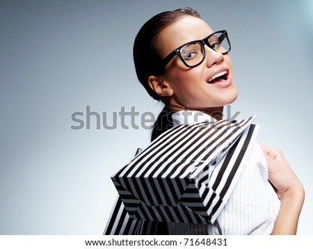 Isolated Shopping woman - stock photo