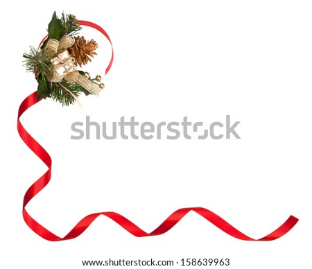 Isolated shot from a Christmas decorative frame consisting of red ribbon, golden Pine, Fur-tree and a shiny gift box. - stock photo