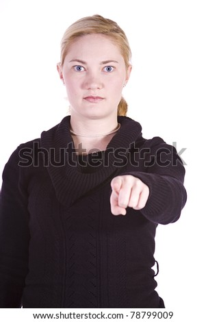 Isolated Shot of a Beautiful Girl Giving the Thumbs Up - stock photo