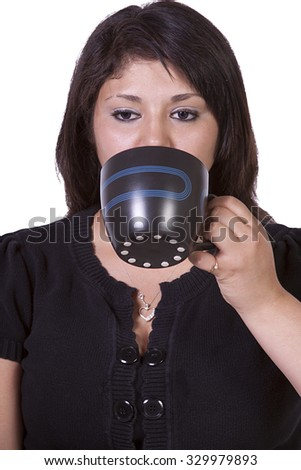 Isolated Shot of a Woman Drinking Coffee Standing Up - stock photo