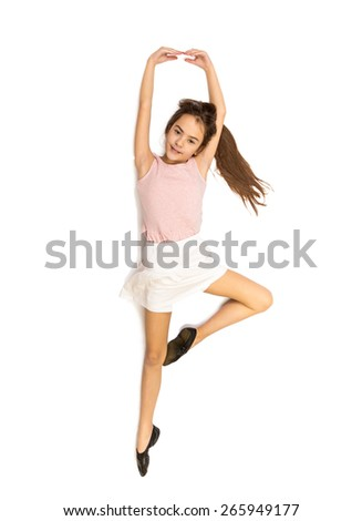 Isolated shot of cute smiling girl dancing ballet - stock photo