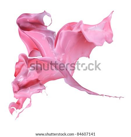 Isolated shot of paint splashing on white - stock photo
