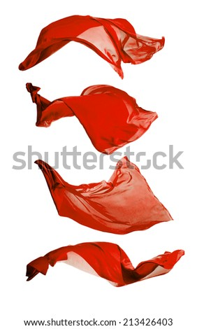 Isolated shots of freeze motion of transparent red silks, isolated on white background - stock photo