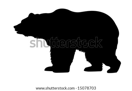 isolated silhouette bear on white background - stock photo