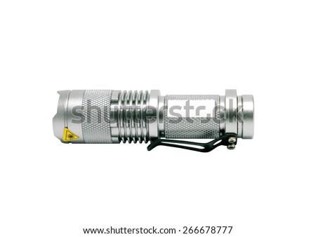 isolated silver flashlight on white background - stock photo