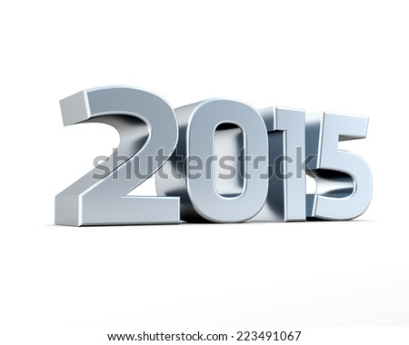Isolated silver 2015 on white background - stock photo