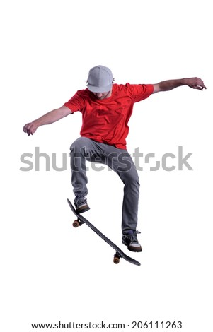 isolated skateboarder in red t-shirt on white background - stock photo