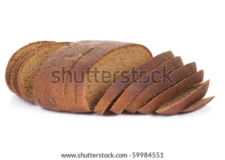 isolated sliced bread on white - stock photo