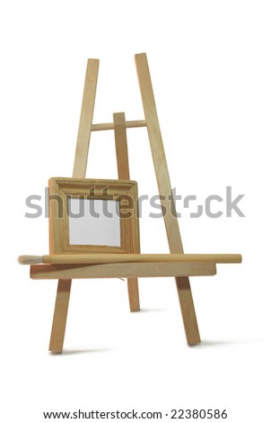 isolated small wooden frame on easel on white background for announcement with clipping path - stock photo