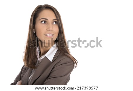 Isolated smiling business woman looking sideways to text. - stock photo
