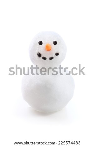 Isolated snowman - stock photo