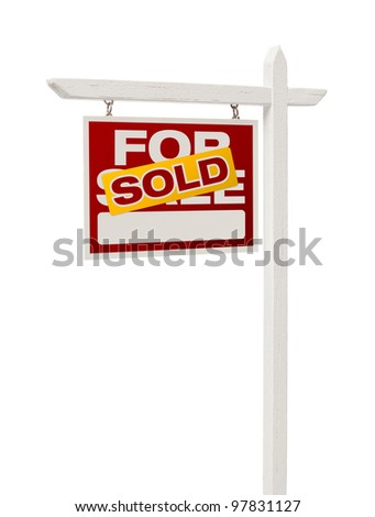 Isolated Sold For Sale Real Estate Sign with Clipping Path. - stock photo
