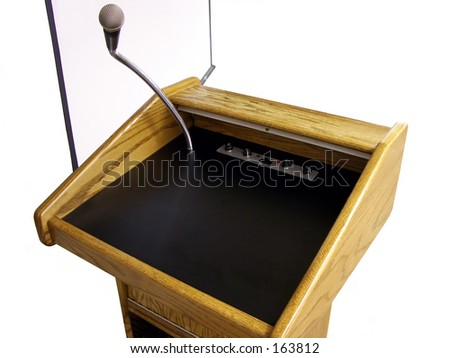 Isolated speakers stand and projection screen. - stock photo