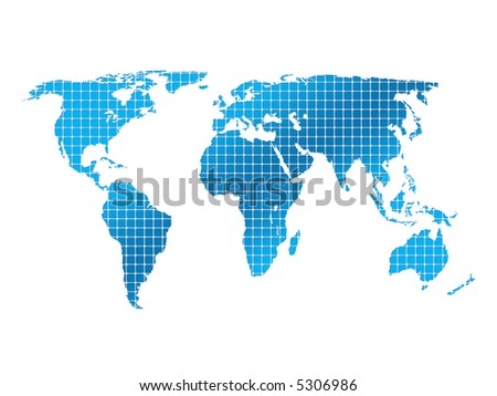 isolated square world map - stock photo