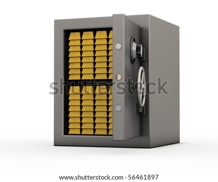 Isolated stainless safe full of golden bars with half opened door - stock photo