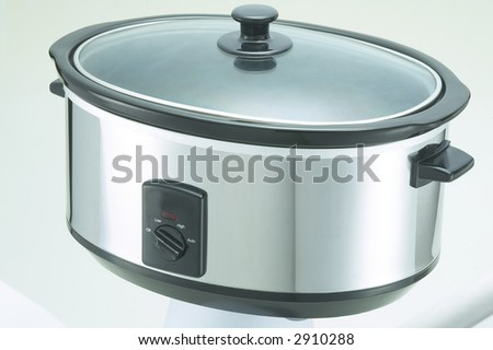 Isolated Stainless Steel Crock Cooker 1 - stock photo