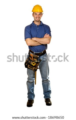 Isolated standing young worker on white background - stock photo