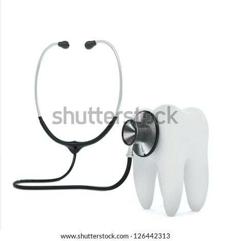 Isolated stethoscope examing tooth on white background - stock photo