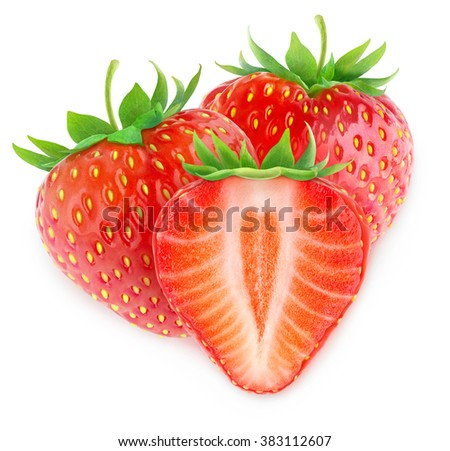 Isolated strawberries. Two and a half strawberry fruits isolated on white background with clipping path - stock photo