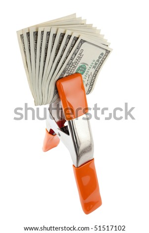 Isolated studio clamp with money - stock photo