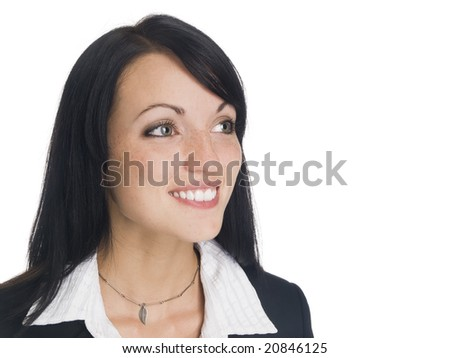 Isolated studio headshot of a businesswoman smiling while looking away. - stock photo