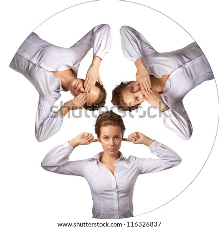 Isolated studio shot of a businessman Caucasian woman, I do not see can not hear anyone say no saying in the poses - stock photo