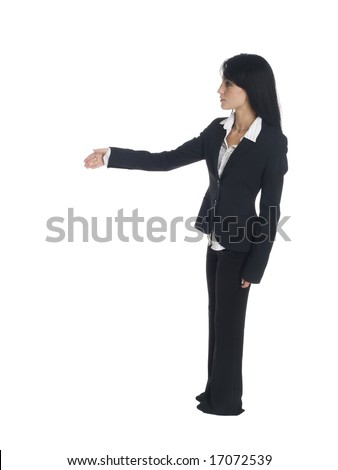 Isolated studio shot of a businesswoman reaching out to shake someone's hand - stock photo