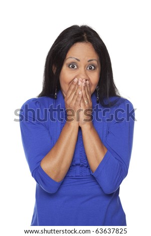 Isolated studio shot of a Latina woman in the Speak No Evil pose. - stock photo