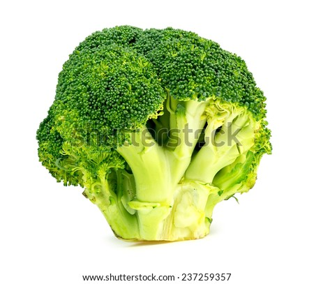 Isolated studio shot of fresh Australian broccoli floret - stock photo
