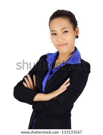 Isolated success young business woman on white - stock photo