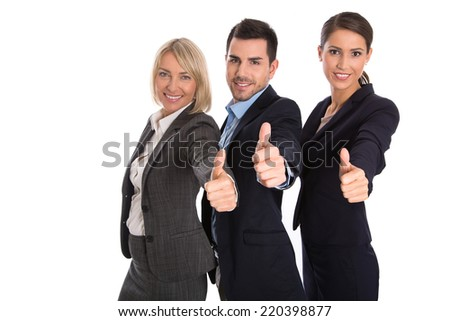 Isolated successful business team: man and woman with thumbs up. - stock photo