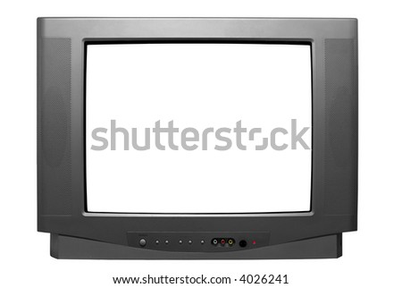 Isolated Television Set with Clipping Path - stock photo