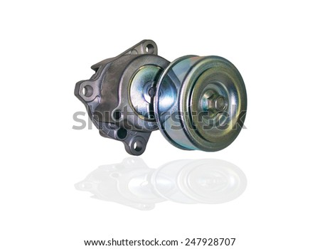 Isolated tensioner Roller for belt on white background - stock photo