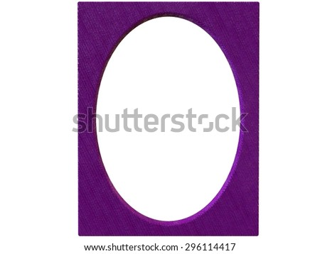 isolated textured oval photoframe 3d render in purple - stock photo