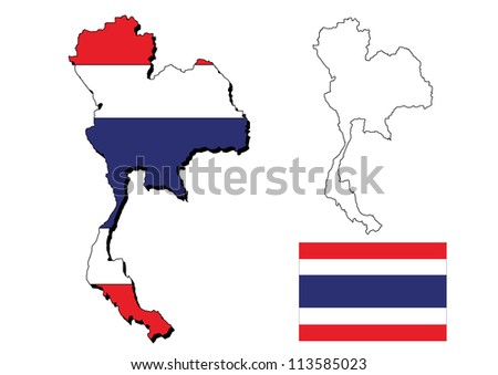 isolated thailand map with  thai flag - stock photo