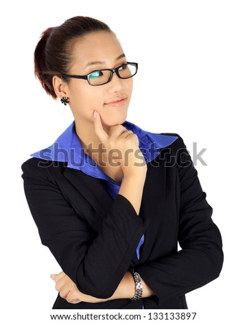 Isolated thinking  business woman on white. - stock photo