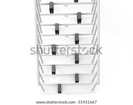isolated three dimensional cpu on stairs on an isolated white background - stock photo